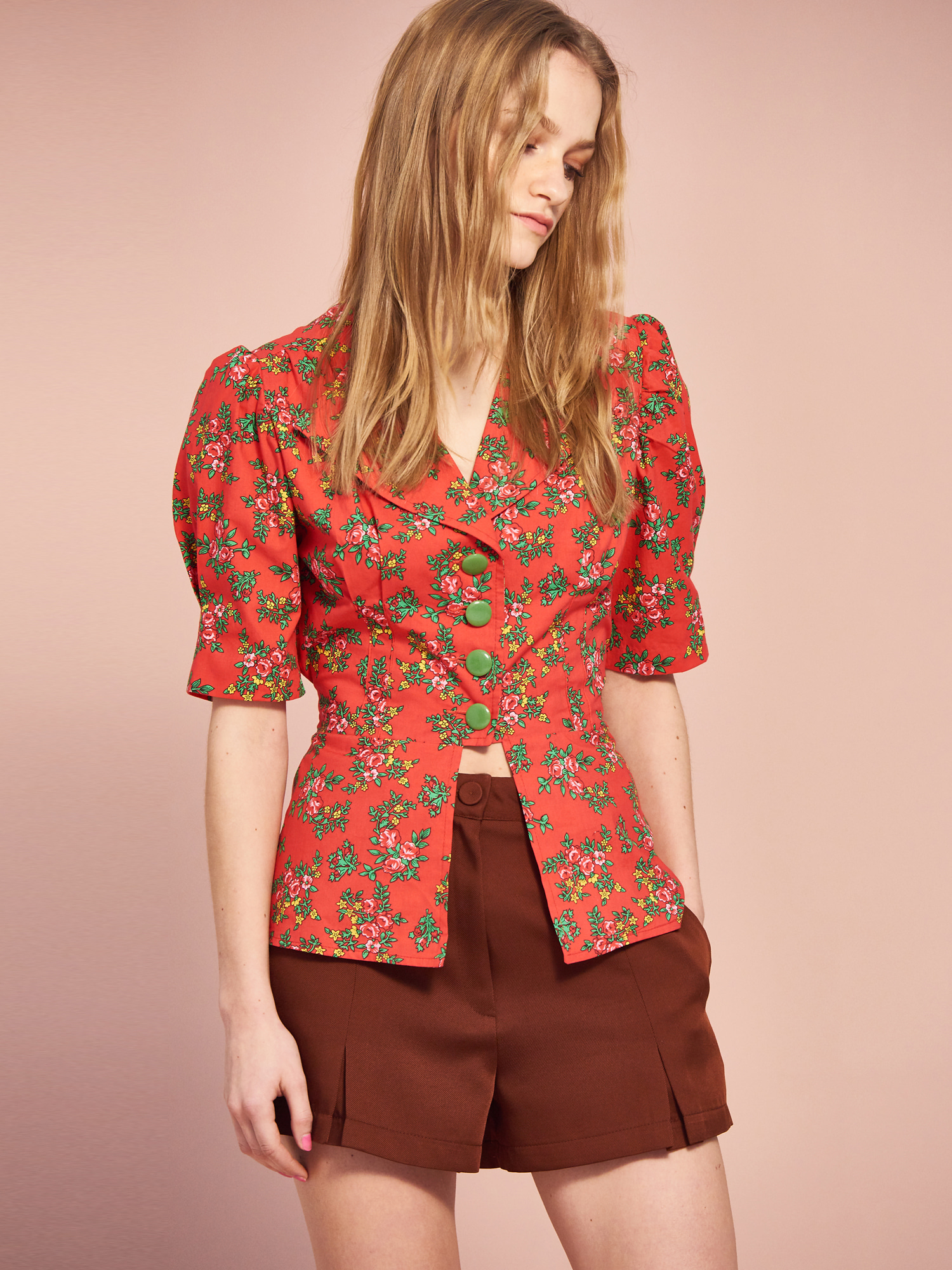 Vintage Button Blouse in Red