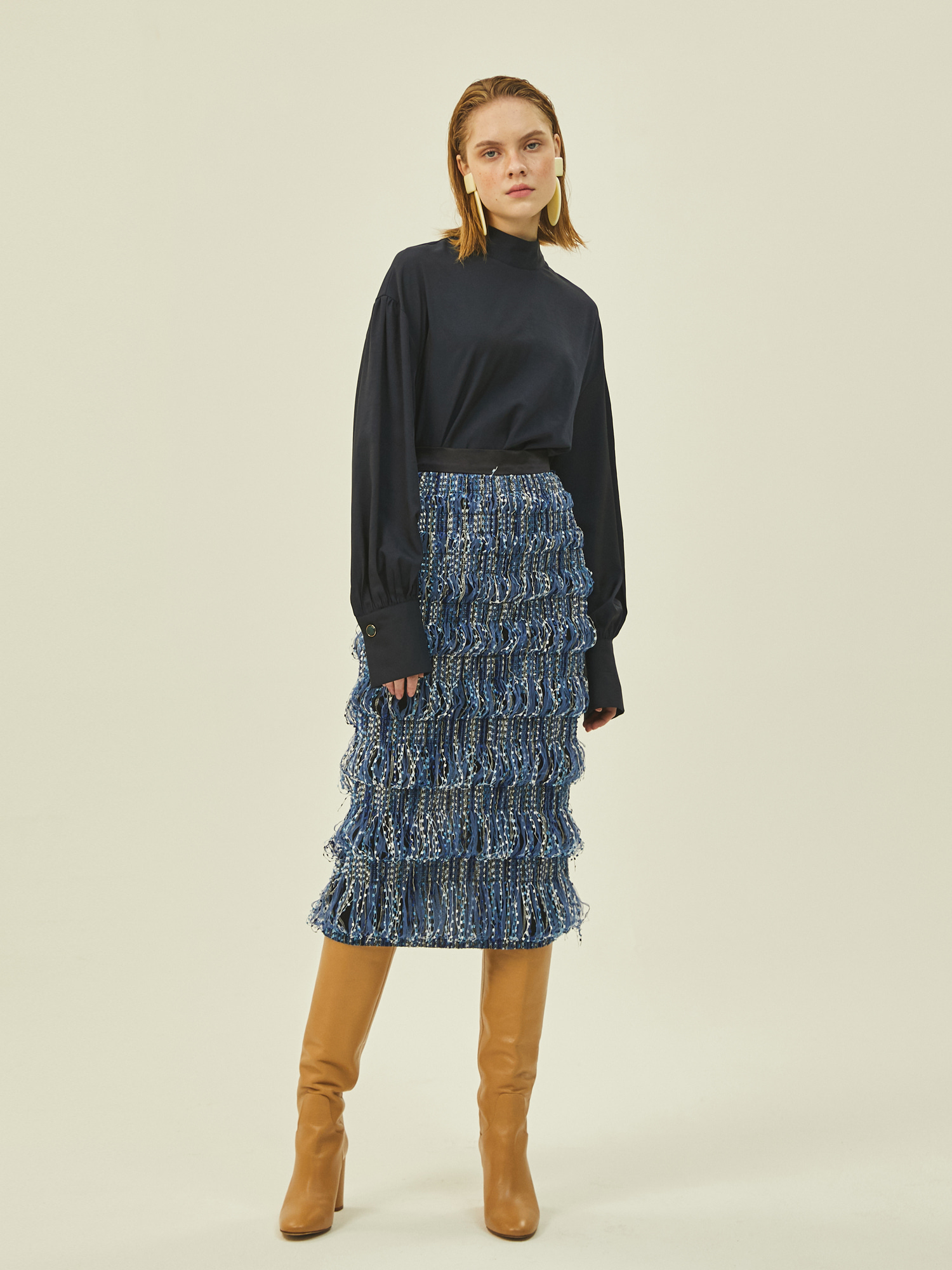 [Clearance 50%Off]Amanda Midi Skirt in Navy