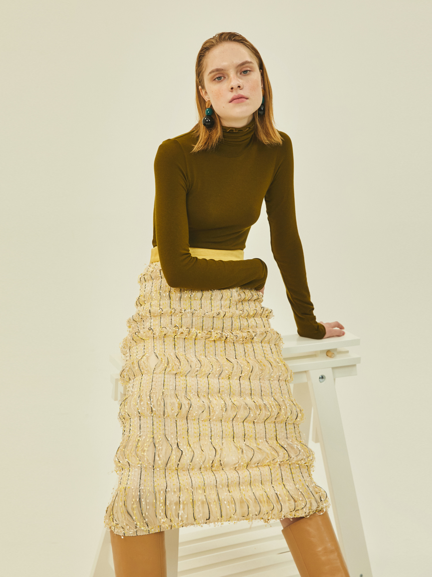 [Clearance 50%Off]Amanda Midi Skirt in Cream