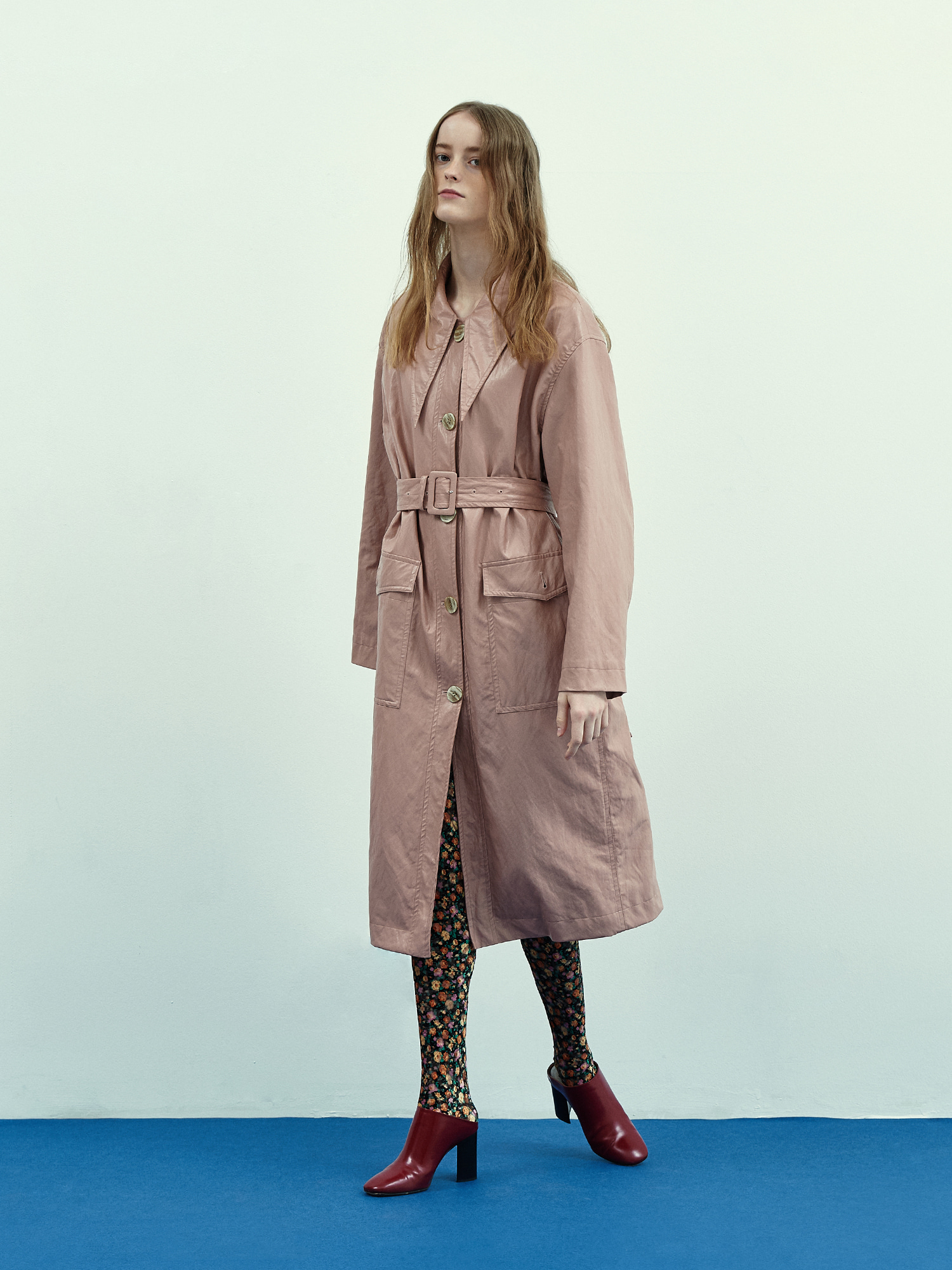 [Season Off Sale 40%Off]Retro Collar Leather Coat in Rose Pink