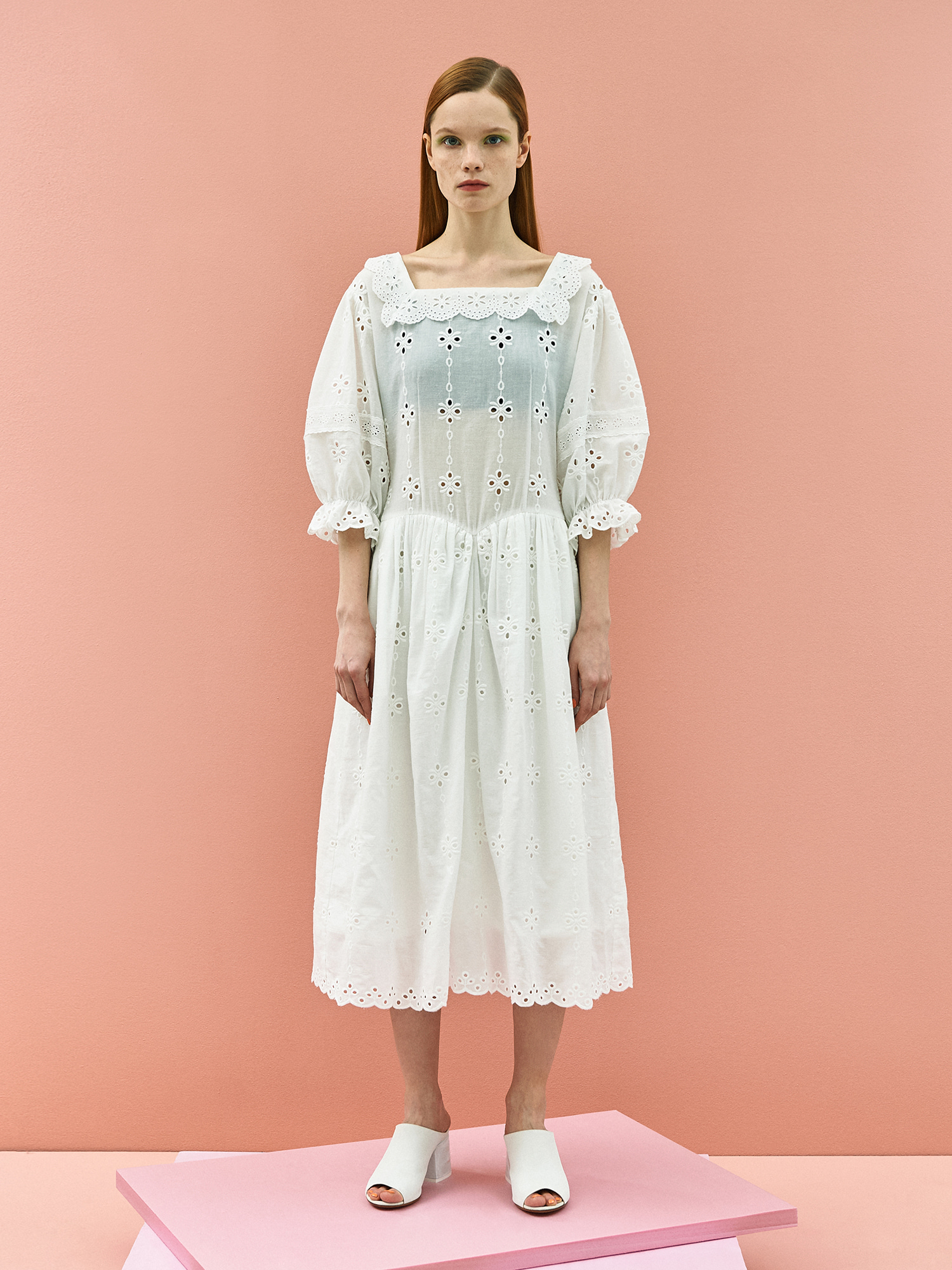 [주말특가30%]Girlish Lace Cotton Dress in White