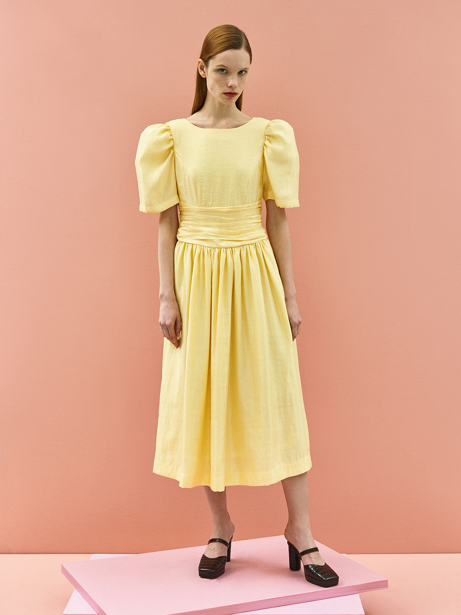 [주말특가30%]Retro Ribbon Dress in Lemon
