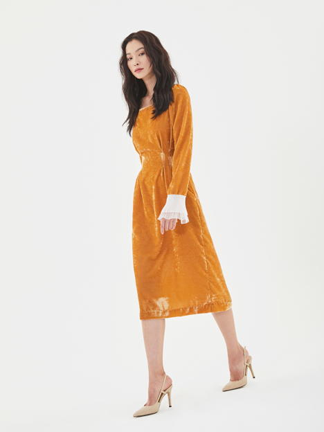 Velvet Pintuck Dress in Mustard