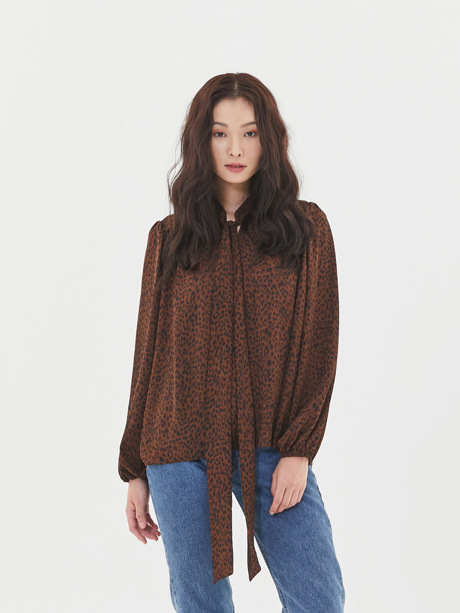 [Clearance 50%Off]Scarf Shirring Blouse in Leopard