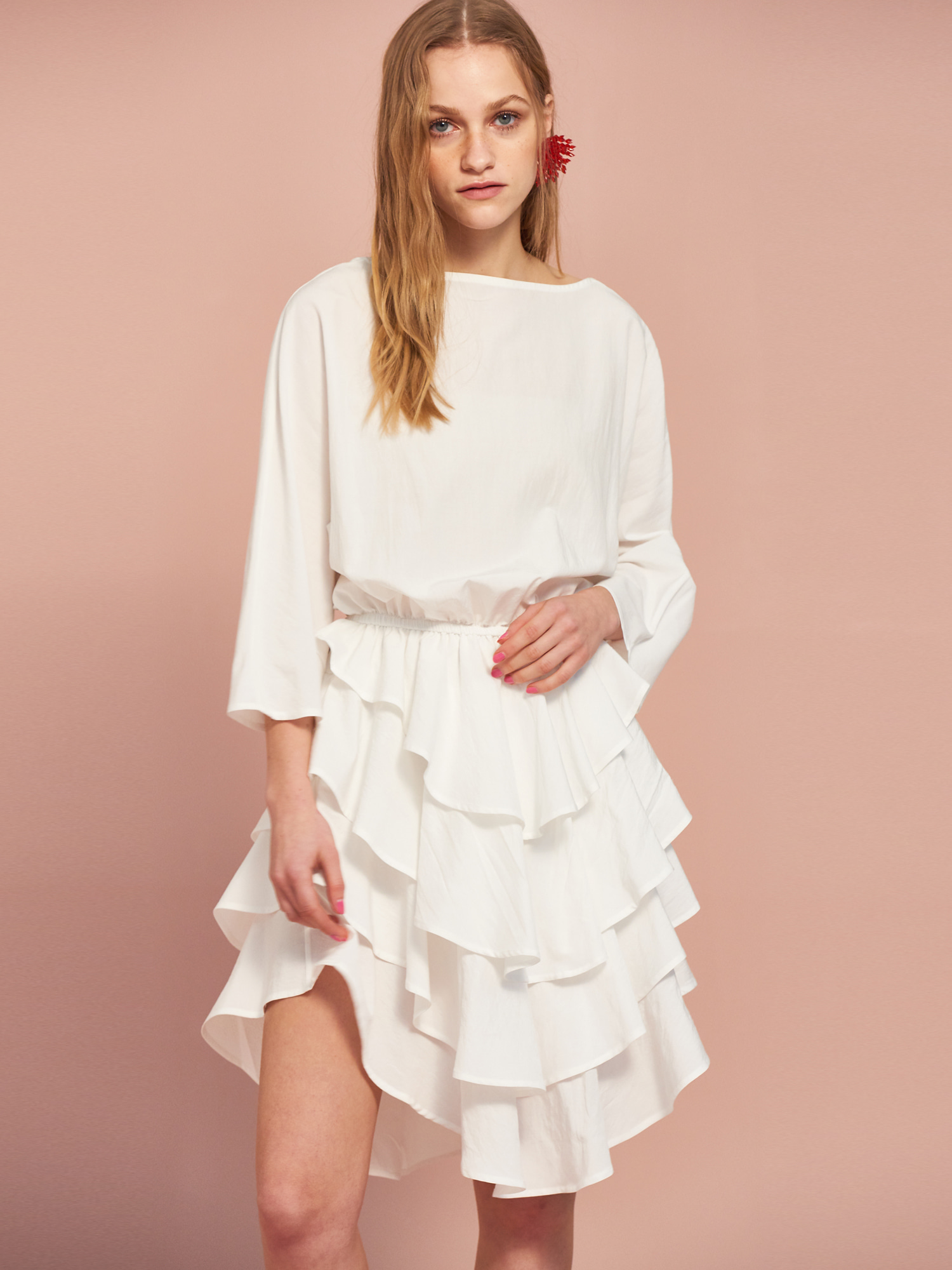 [MID SALE 50% 교환 및 반품불가]Can Can Cotton Dress in Ivory
