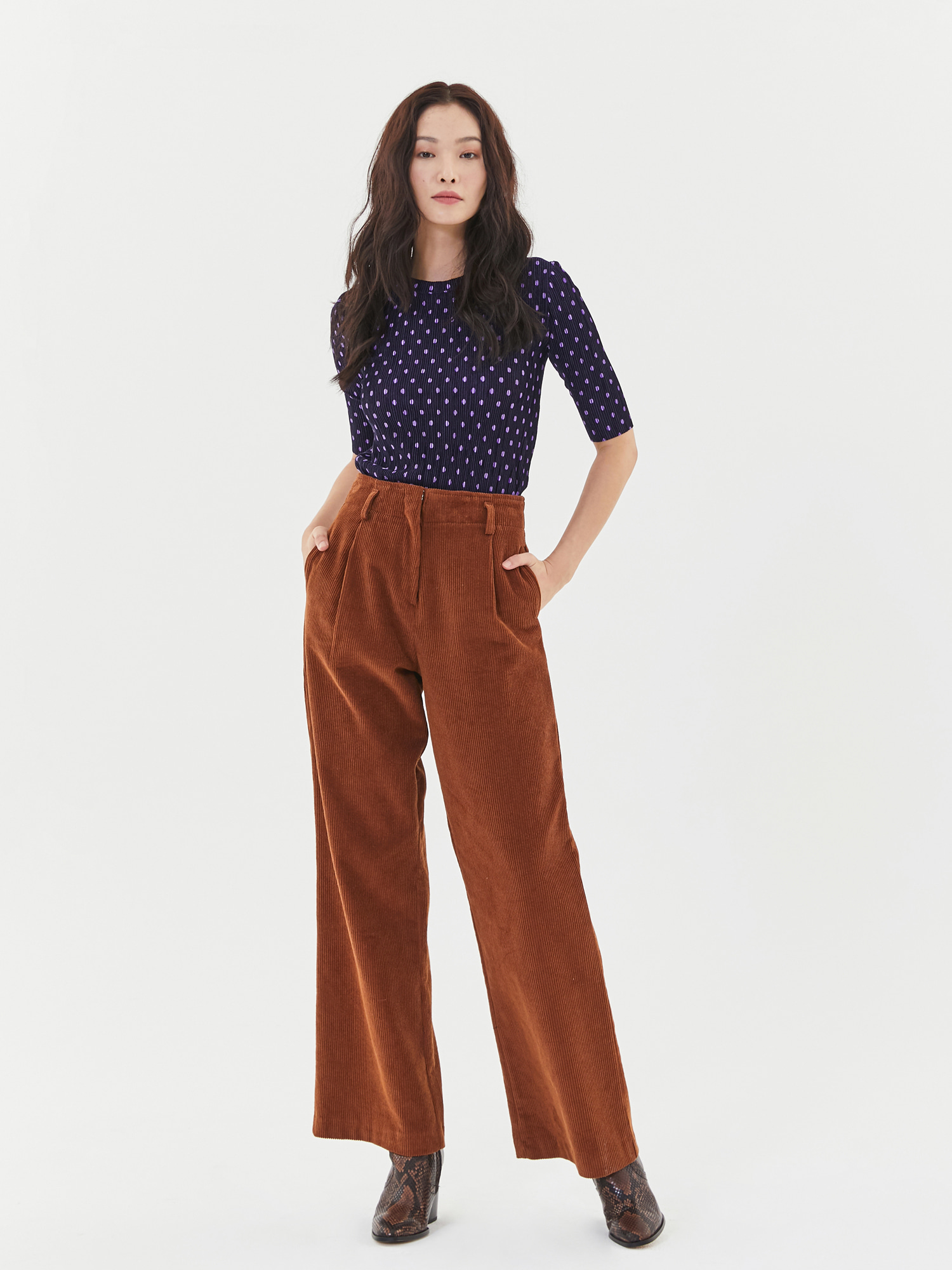 [Clearance 50%Off]Corduroy Wide Pants in Brown