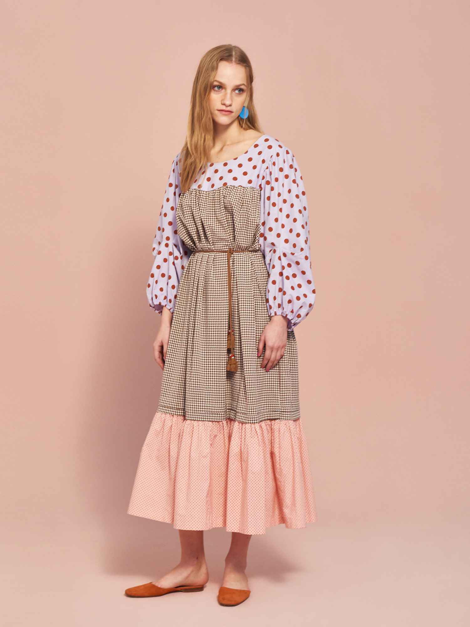 Dot Check Maxi Dress in Brown