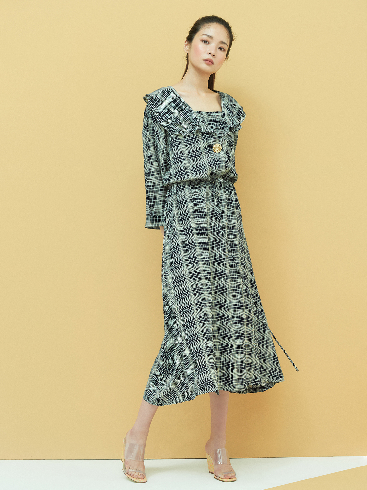 [기간한정 30%OFF]Retro Frill Dress in Navy