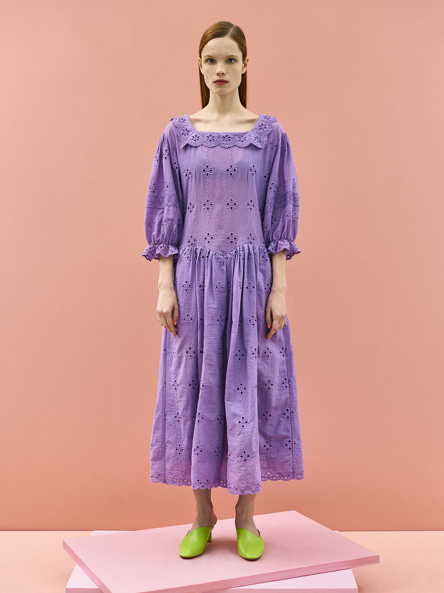 [주말특가30%]Girlish Lace Cotton Dress in Purple